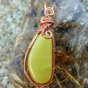 Yellow Aventurine Wirewrapped Pendant Boho Gypsy